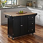Home Styles Liberty Kitchen Cart in Black with Wooden Top