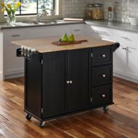 Dolly Madison Patriot Wood Top Kitchen Cart in Black