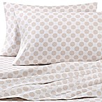 Printed/Solid Microfiber Queen Sheet Set in Taupe