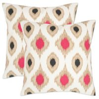 Safavieh Miranda 18-Inch Square Throw Pillows in Taupe (Set of 2)
