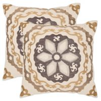 Safavieh Thea 18-Inch x 18-Inch Throw Pillows in Taupe/Gold (Set of 2)