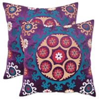 Safavieh Vanessa 20-Inch x 20-Inch Throw Pillows in Gold/Purple (Set of 2)