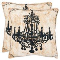Safavieh Velleron 18-Inch x 18-Inch Throw Pillows in Beige (Set of 2)