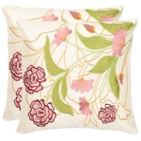 Safavieh Pink Ruby Throw Pillows in Pink/Cream (Set of 2)