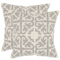 Safavieh Moroccan 22-Inch x 22-Inch Throw Pillows in Light Grey (Set of 2)