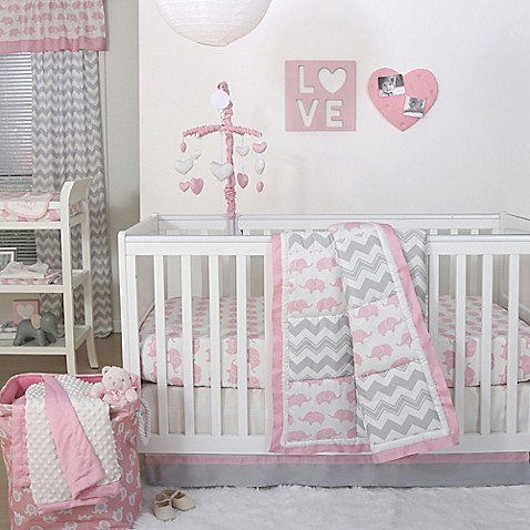 The Peanut Shell 174 Elephant Crib Bedding Collection In Pink