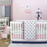 The Peanut Shell® Anchor 4-Piece Crib Bedding Set in Navy/Pink