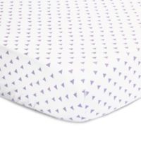The Peanut Shell® Triangles Fitted Crib Sheet in Purple
