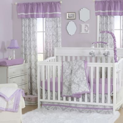 Genial The Peanut Shell® Damask 4 Piece Crib Set In Purple/Grey