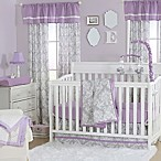 The Peanut Shell® Damask 4-Piece Crib Set in Purple/Grey