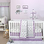 The Peanut Shell® Elephant 4-Piece Crib Bedding Set in Purple/Grey