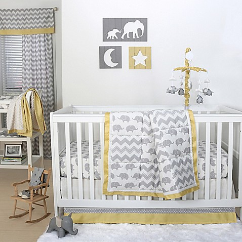 the peanut shell crib bedding collection in grey yellow buybuy baby