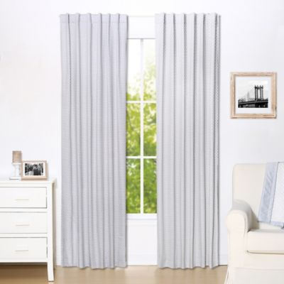 the peanut shell dots blackout window curtain panel pair in grey