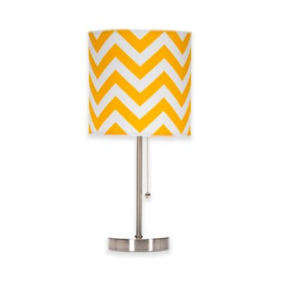 Glenna Jean Swizzle Chevron Mod Lamp Base with Shade in Yellow/White - Buy Yellow Lamp Base From Bed Bath & Beyond
