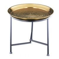 Old Dutch International Gold Hammered Tray with KD Stand