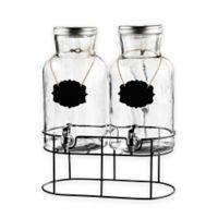 Style Setter Blackboard Glass Beverage Dispenser Set with Stand