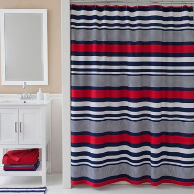 Red White Striped Shower Curtain