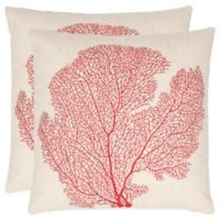 Safavieh Spice-Fan Coral 22-Inch x 22-Inch Throw Pillows in Beach Red (Set of 2)
