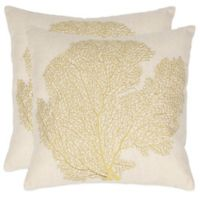 Safavieh Spice-Fan Coral 18-Inch x 18-Inch Throw Pillows in Beach Lime (Set of 2)