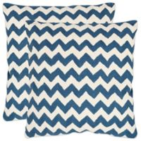 Safavieh Striped Tealea 18-Inch Throw Pillows in Navy Blue (Set of 2)