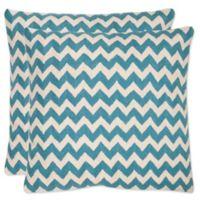 Safavieh Striped Tealea 18-Inch Throw Pillows in Blue Rain (Set of 2)