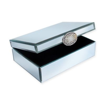 Allure by Jay Large Mirrored Glass Jewelry Box with Brooch Bed