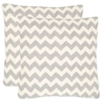 Safavieh Striped Tealea 18-Inch Throw Pillows in Light Grey (Set of 2)