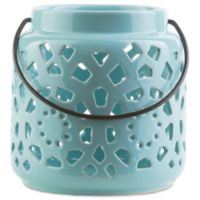 Style Statements by Surya Kimba Small Ceramic Tealight Lantern in Blue