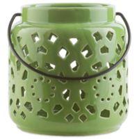 Style Statements by Surya Kimba Small Ceramic Tealight Lantern in Green