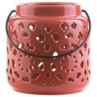 Style Statements by Surya Kimba Small Ceramic Tealight Lantern in Red