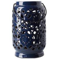 Style Statements by Surya Kimba Medium Ceramic Tealight Lantern in Navy