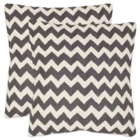 Safavieh Striped Tealea 18-Inch Throw Pillows in Charcoal (Set of 2)
