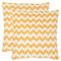 Safavieh Striped Tealea 18-Inch Throw Pillows in Mustard (Set of 2)