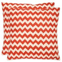 Safavieh Striped Tealea 22-Inch Throw Pillows in Orange Sunburst (Set of 2)