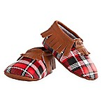 Itzy Ritzy® Size 0-6M Leather Moccasins in Lumberjack Plaid/Red