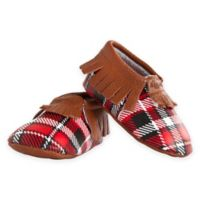 Itzy Ritzy® Size 12-18M Leather Moccasins in Lumberjack Plaid/Red