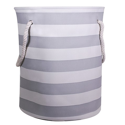 Striped Canvas Hamper With Rope Handles Bed Bath Beyond