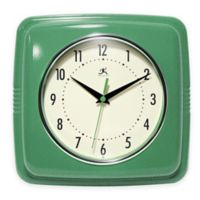 Infinity Instruments 9-Inch Square Retro Wall Clock in Green