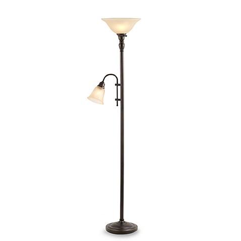Restoration Bronze Floor Torch Lamp With Reading Light
