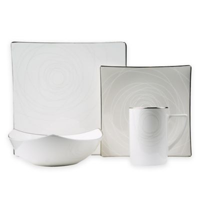 red vanilla orbit 8piece dinnerware set in white