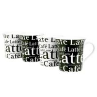 Konitz Café Latte Writing Mugs in White/Black (Set of 4)