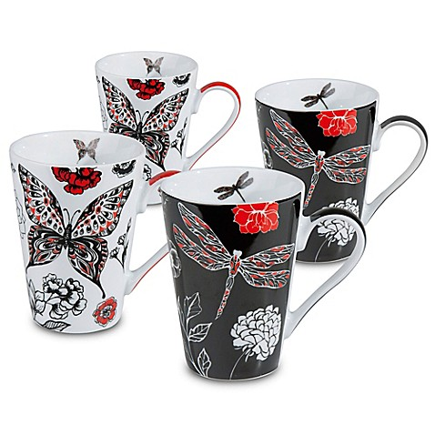 Konitz Dragonfly And Butterfly Mugs Set Of 4 Bed Bath