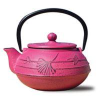 Old Dutch International Cast Iron Ginkgo Teapot in Fuchsia