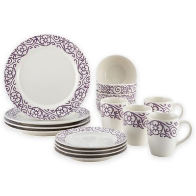 Rachael Ray™ Scroll 16-Piece Dinnerware Set  sc 1 st  Bed Bath \u0026 Beyond & Buy Oven Safe Stoneware Dinnerware Sets from Bed Bath \u0026 Beyond