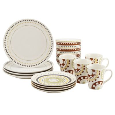 Rachael Ray™ Circles and Dots 16-Piece Dinnerware Set  sc 1 st  Bed Bath \u0026 Beyond & Buy Rachael Ray Dinnerware from Bed Bath \u0026 Beyond