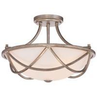 Quoizel Milbank 3-Light Semi-Flush Mount Ceiling Fixture in Vintage Gold