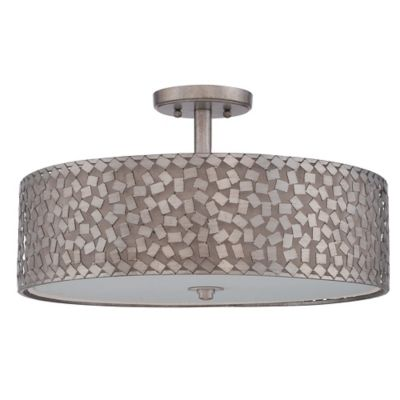 Quoizel confetti extra large semi flush mount ceiling light fixture in old silver