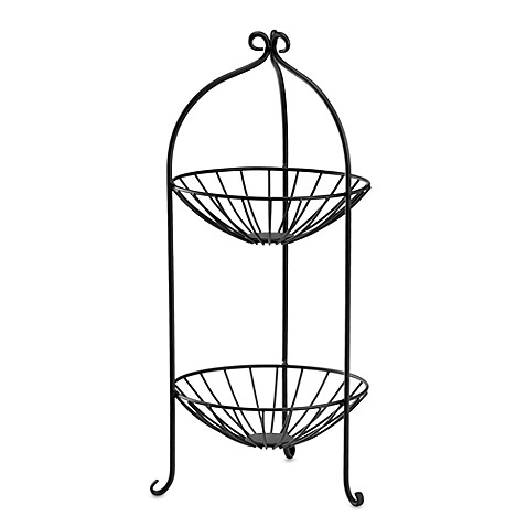 2-Tier Wire Fruit Basket in Black - Bed Bath & Beyond