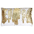 Thro by Marlo Lorenz Melody Mermaid Sequin Oblong Throw Pillow in White/Gold