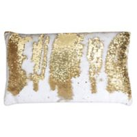 Thro by Marlo Lorenz Melody Mermaid Reversible Sequin 12-Inch x 20-Inch Pillow in White Gold